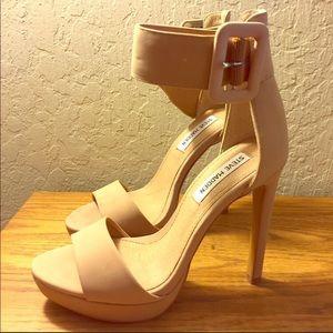 Steve Madden Nude Ankle Strap High Heels 5.5